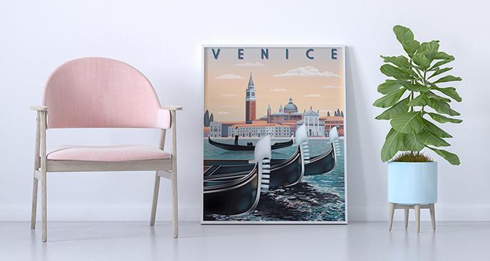 Poster Gondeln am Wasser