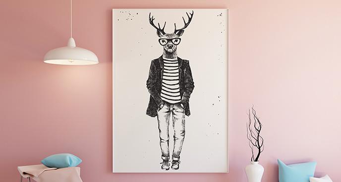 Poster Hirsch in Kleidung