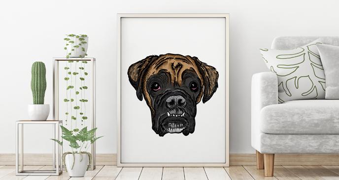 Poster Hund im Wohnzimmer