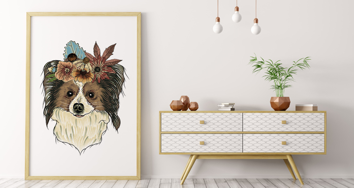 Poster Hund mit Blumen