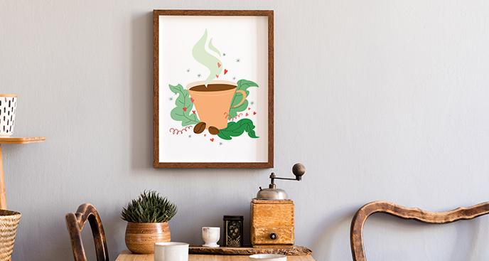 Poster Kaffee und Blätter