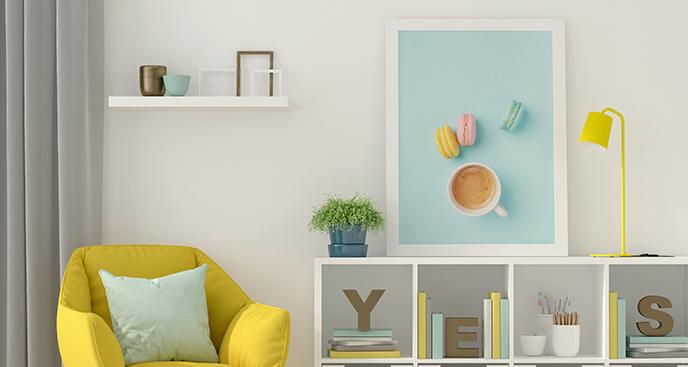 Poster Kaffee und Makronen
