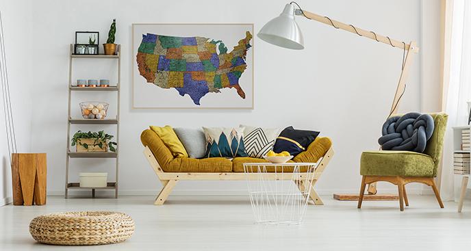 Poster Karte der Vereinigten Staaten