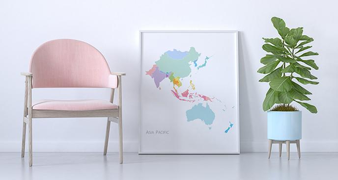 Poster Karte in Pastellfarben