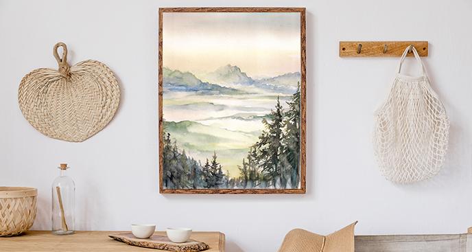 Poster Landschaft in Aquarellfarbe