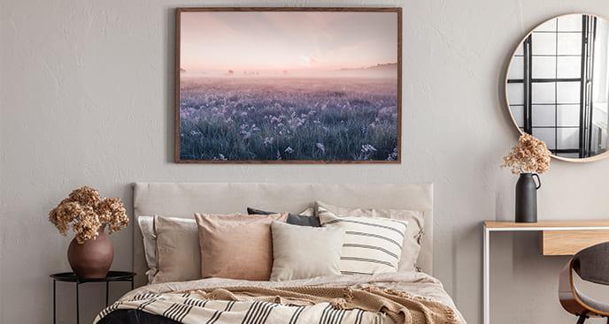 Poster Landschaft Wiesen am Morgen