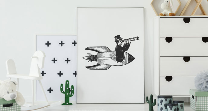 Poster Mann auf einer Rakete