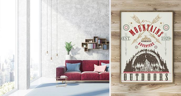 Poster mit Bergen im Retrostil