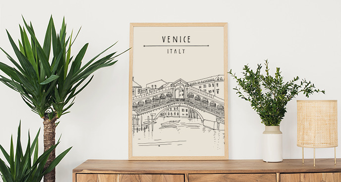 Poster mit Brücke in Venedig