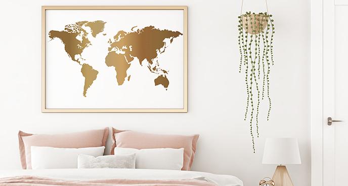 Poster mit einer goldenen Karte