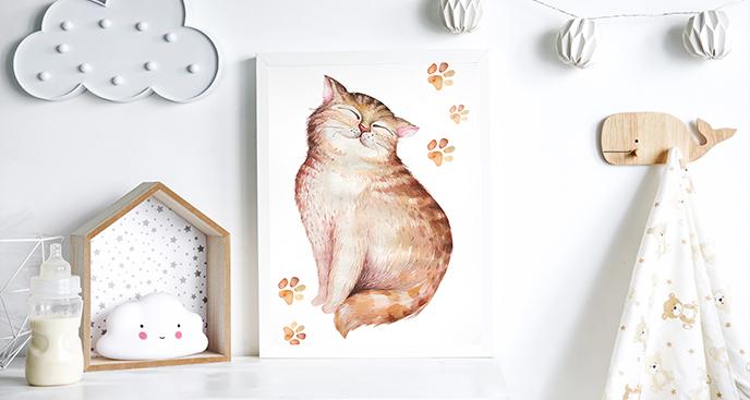 Poster mit einer Katze im Kinderzimmer