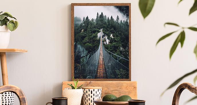 Poster mit Hängebrücke