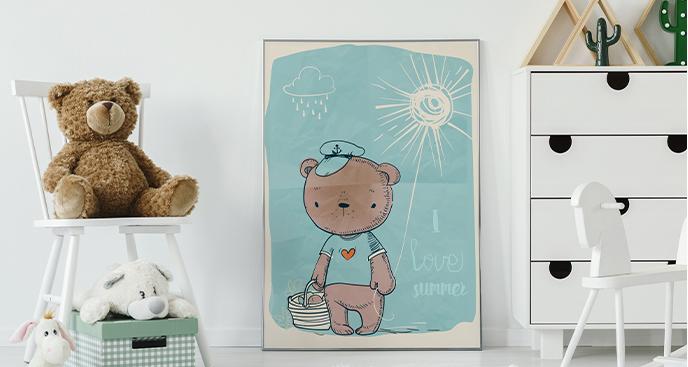 Poster mit Kleinbären für Kinderzimmer