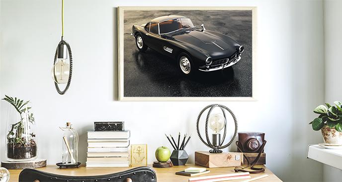 Poster mit schwarzem Auto