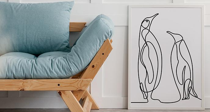 Poster mit zwei Pinguinen