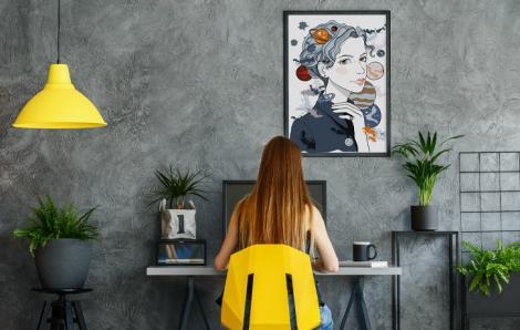 Poster Planeten und Frauengesicht