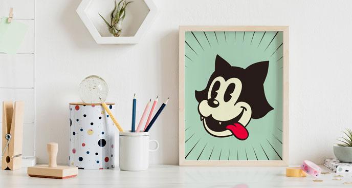 Poster Retro – Cartoon-Katze