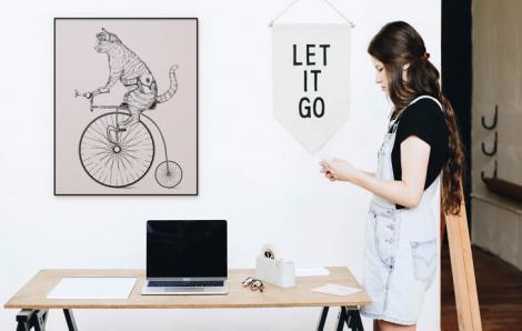Poster Retro – Katze auf einem Fahrrad