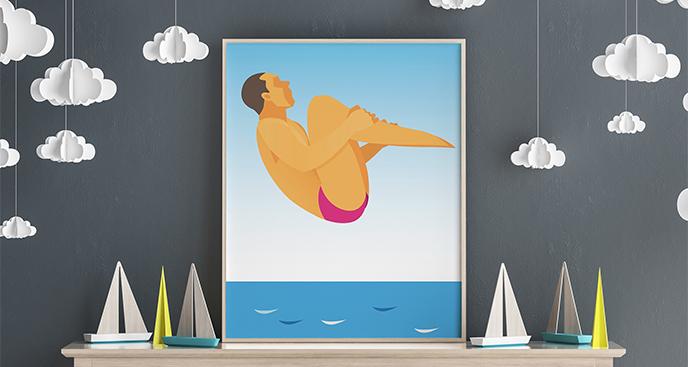 Poster Sport - Sprung ins Wasser