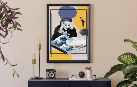 Poster Sprung in die Große Welle
