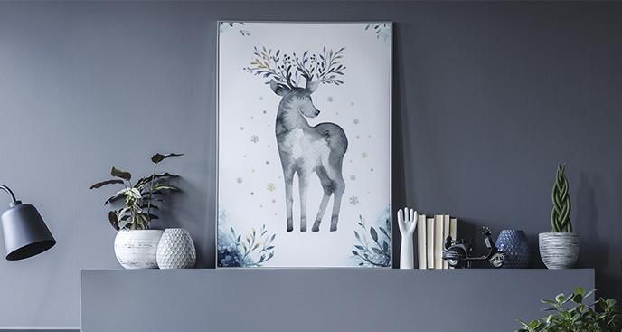 Poster Tier im skandinavischen Stil