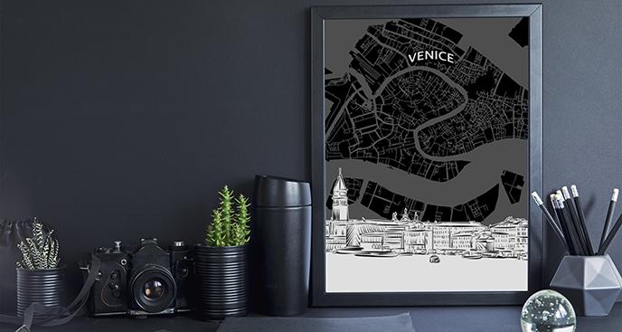 Poster Venedig-Karte