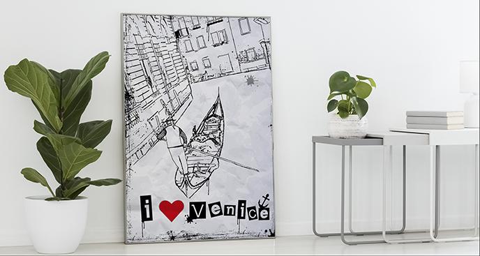Poster Venedig schwarz-weiß