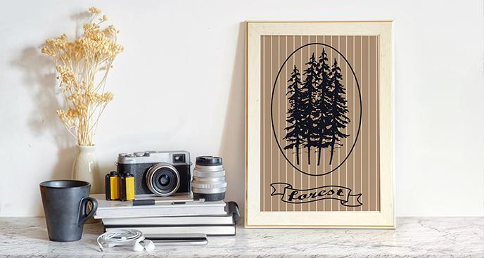 Poster Wald im Vintage-Stil