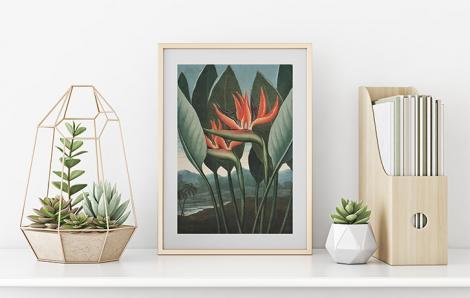 Retro-Poster – Paradiesvogelblume