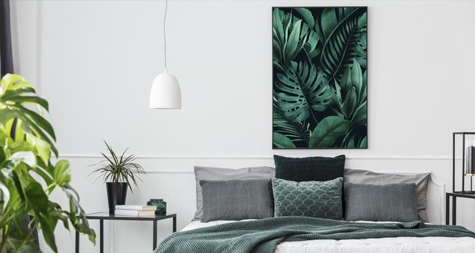 Schlafzimmerplakat mit Blättern
