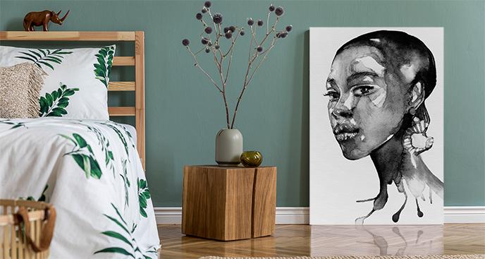 Schwarz-Weiß-Malerei mit Porträt