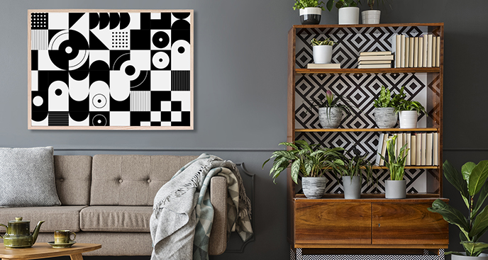 Schwarz-Weiß-Poster mit Geometrie