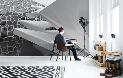 Schwarz-weiße Fototapete 3D