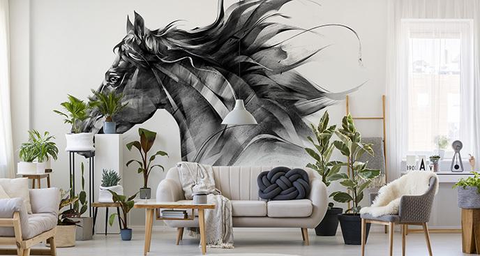 Schwarz-Weiße Fototapete mit Pferd