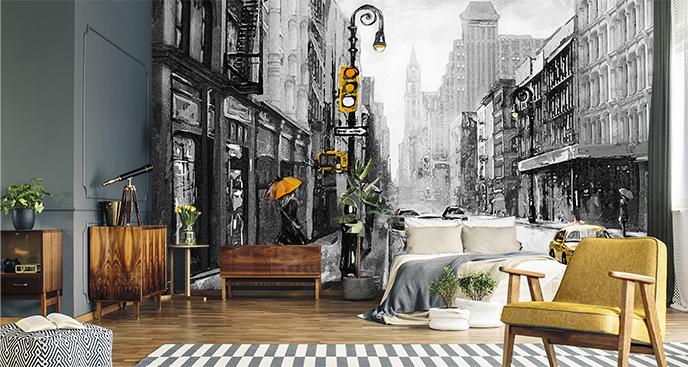 Schwarz-weiße Fototapete Stadt