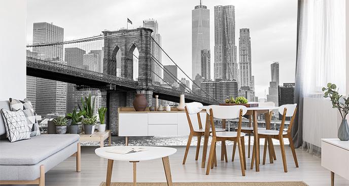 Schwarz-weiße Fototapete von New York