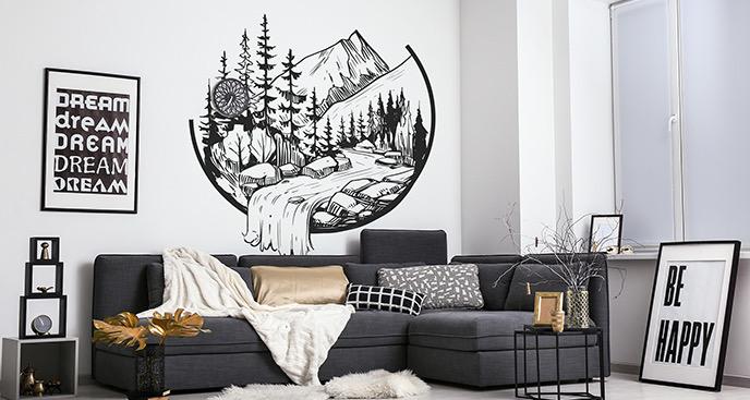 Schwarz-weißer Wandsticker
