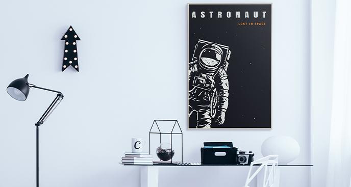 Schwarz-weißes Poster mit Astronautenmotiv