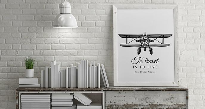 Schwarz-weißes Poster mit Doppeldecker