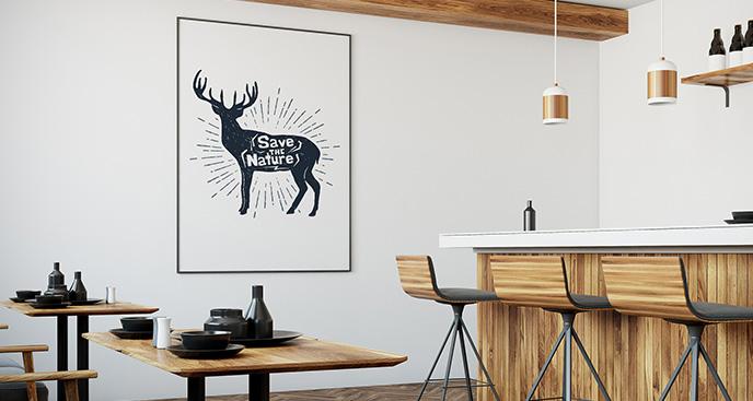 Schwarz-weißes Poster mit Hirsch