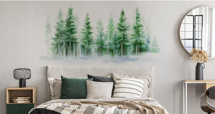 Sticker Aquarell-Wald