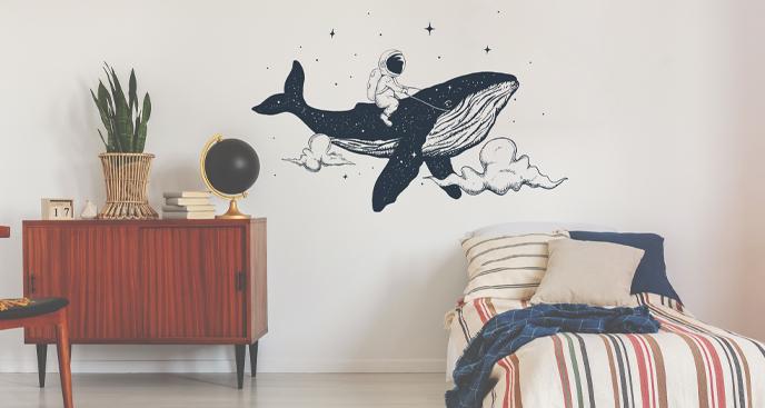 Sticker Astronaut und Wal