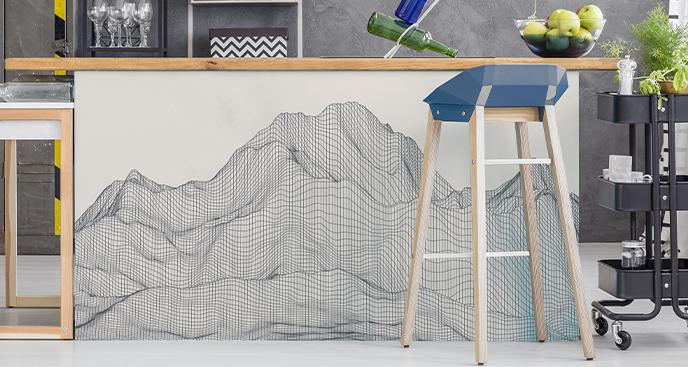 Sticker Berge in 3D