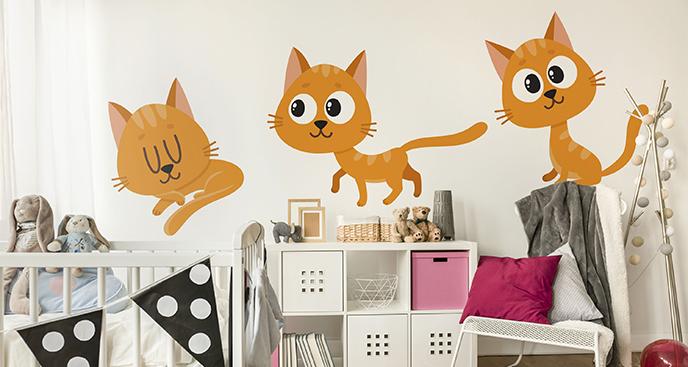 Sticker drei rote Katzen