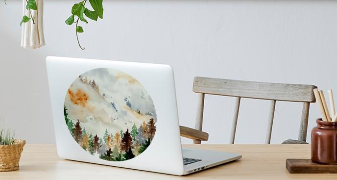 Sticker für den Laptop in Aquarell