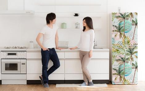 Sticker für Kühlschrank mit tropischen Pflanzen