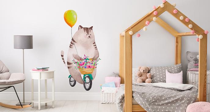 Sticker Katze auf dem Fahrrad