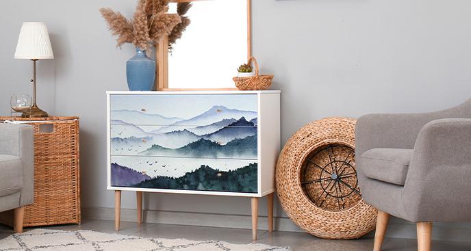 Sticker Landschaft Aquarell