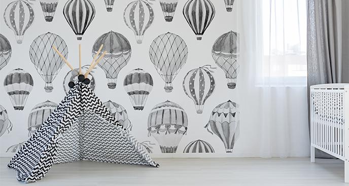 Sticker schwarz-weiße Luftballons
