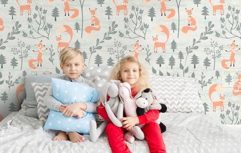 Tapete Füchse fürs Kinderzimmer